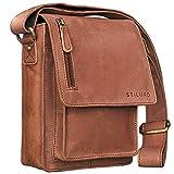 STILORD 'Finn' kleine Umhängetasche Herren Schultertasche Vintage Messenger Bag 8,4 Zoll Tablettasche echtes Büffel-Leder , Farbe:cognac - hellbraun