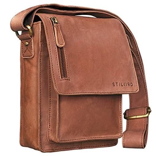 685f435647177c STILORD 'Finn' Borsello da uomo in vera pelle Borsa a tracolla per Tablet da  8, 4 pollici in cuoio Resistente borsetta messenger stile vintage di qualità