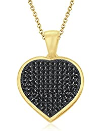 "Silvernshine 1.22 Ct Round Black Pave Heart Pendant With 18"" Chain 14K Yellow Gold Fn 925 Silver"