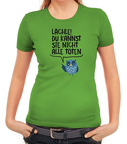 Eule Damen T-Shirt mit Lächle du kannst sie nicht alle töten Motiv von ShirtStreet Apfelgrün