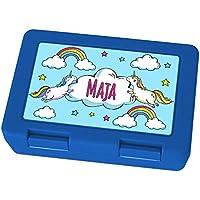 Preisvergleich für Brotdose mit Namen Maja - Motiv Einhorn, Lunchbox mit Namen, Frühstücksdose Kunststoff lebensmittelecht