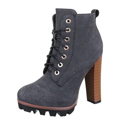 Ital-Design High Heel Stiefeletten Damen Schuhe Schlupfstiefel Pump High Heels Reißverschluss Stiefeletten Schwarz Grau