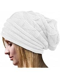 Overdose Gorros De Punto para Mujer Crochet Casual De Invierno Sombrero  Holgado De Lana Gorro De bd22584fb54