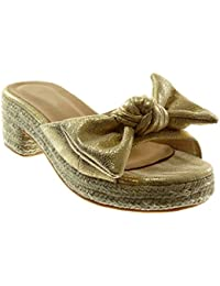 Angkorly Scarpe Moda Sandali Mules Slip-On Zeppe Donna Nodo Corda Lucide  Tacco a Blocco 4314587ff2f