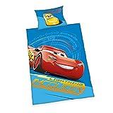 Bettwäsche Disney's Cars 3, Kopfkissenbezug 40x60cm, Bettbezug 100x135cm, Flannel, mit Knopfleiste