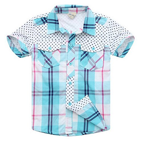 XiaoYouYu Big Boys' Short Sleeve Plaid Print Slim Fit Sport Shirt 8 Years Moon Blue