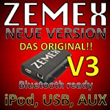 Zemex v3 uSB iPod iPad iPhone aux mP3 adaptateur pour volkswagen seat skoda, compatible avec rns2 mfd2 rvd 300 rcd 500 rns300 delta, rcd200 monsoon rhapsody 6