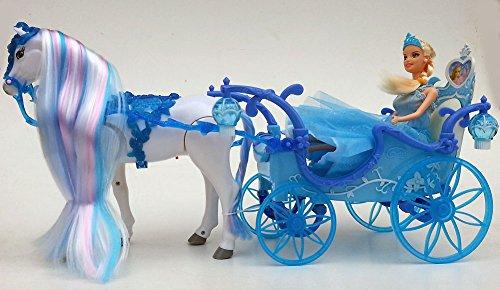 Brigamo 546 - Elektrische Schneekönigin Kutsche mit Beleuchtung UND Elektrischem Pferd,voll beweglich, inkl. Sound
