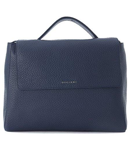 Orciani Handtasche aus genarbtem Leder Blau