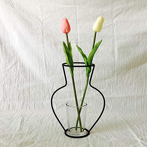 Dekoartikel Neue nordische minimalistische abstrakte Vase aus schwarzem Eisen kurze Vase Blumenständer Ornamente dekorieren Wohnhäuser Beleuchtung Weitere Lebensmittel Getränke Dekoration Glasuren