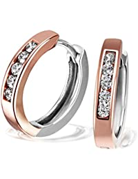 Goldmaid Ladies 925 Sterling Silver Partially Rose Gold Plated Hoop Earrings Co O432SR