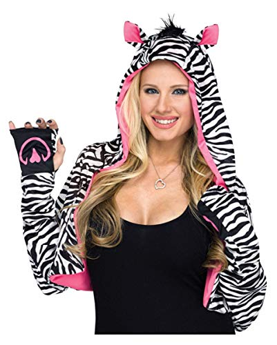 Horror-Shop Langärmelige Zebra Kapuzen Stola als Mix & Match Kostüm - Match Kostüm