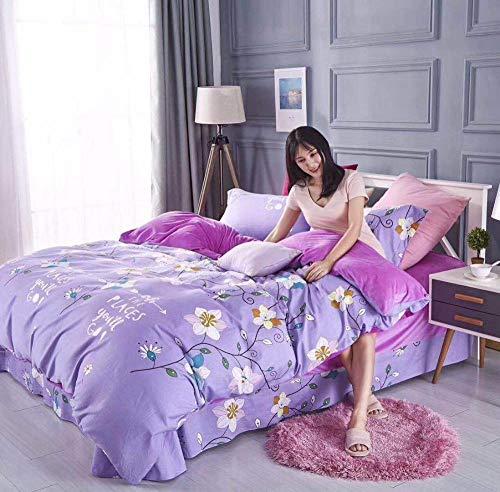 Kaschmir Twin-set (Sxuefang Bettwäsche-Set von 4 Crystal Kaschmir Baumwolle vierteilige Set warme und Komfortable antistatische Kurze Plüsch)