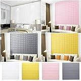 KINLO 3D DIY Schaum Wandaufkleber Selbstklebend 60 x 60cm Schneidbar Tapete PVC Verdicht Wandpaneele für Wohnzimmer Schlafzimmer Deko Grau 5pcs