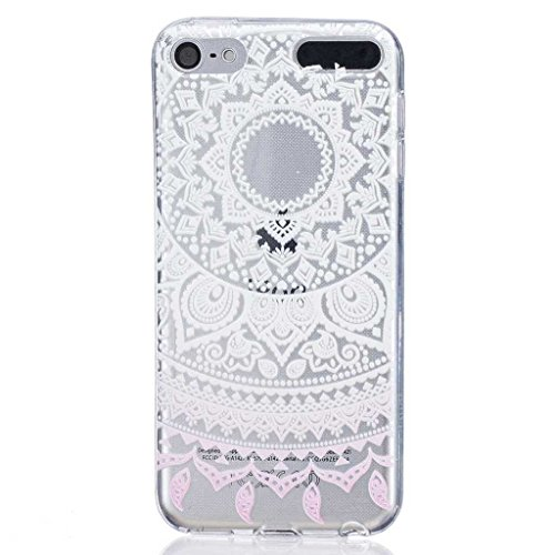 Price comparison product image iPod Touch 5th / 6th Generation Case [with Free Tempered Glass Screen Protector], BoxTii® Shock Absorption Elegant TPU Silicone Cover, Transparent Design Slim Fit Anti-Scratch Protective Back Case Cover Shell for Apple iPod Touch 5th / 6th Generation (#3 White Pattern)