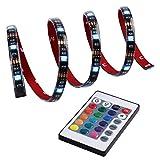Qedertek LED Streifen Beleuchtung, LED-Streifen, LED Lichtschläuche, 1M 3,28 ft, 5050 RGB, 30 LED, Farbwechsel und Lichtszenarieneinstellung möglich, Komplettpaket mit 24 Tasten IR-Fernbedienung, Kontrollbox, Netzteil. Ideal für Raumausstattung, Dekoration, Weihnachten, Party, Ambientbeleuchtung (mehrfarbig)
