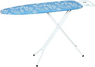 MEDED Steel Foldable and Height Adjustable Iron Table Stand with Press Holder, 110 x 33cm (Blue with White Leaves, IBQBLULEAF)