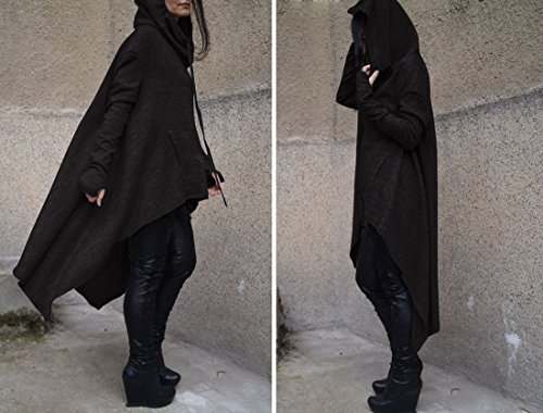 Femmes Asymétrique Manches Longues Haut Bas Ourlet Chunky Poche Baggy Sweats À Capuche À Capuche S-3XL Noir