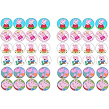 48 Peppa Pig misti immagini cake Toppers 3 cm on wafer Rice Paper