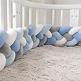 Wanguo Bettausstattung,Baby Nestchen Kinderbett Stoßstange Weben Krippe Stoßfänger Kantenschutz Kopfschutz Für Babybett Bettausstattung (Color : White+gray+dark blue+blue, Size : 420CM)