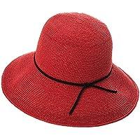 ZHANWEI Temporada de verano Mujer Sombrero de paja Protección solar Cúpula Ajustable Plegable Ensanchar el borde 4 colores 57 cm ( Color : Rojo )