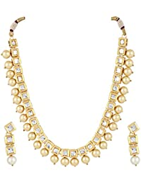 Andaaz Golden Pearl Kundan Necklace Set With Earring For Women And Girls