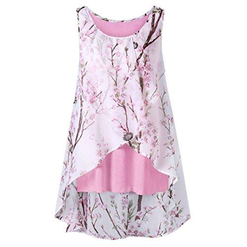 TITIU Damen Sommer Strand Blumen Weste Top ärmellose Bluse Casual Tank Lose T-Shirt Oberteil Tees(Pink,XL) (T-shirt Womens 07)
