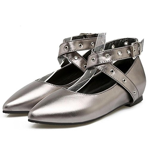 COOLCEPT Damen Fashion Flach Gladiator Criss Cross M?dchen Pumps Gunmetal