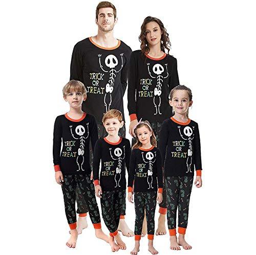 Riou Halloween Familie Pyjamas Set Fasching Karneval Party Cospaly Kostüm Damen Herren Kinder Baby Junge Mädchen Skelett Printed Pullover Schlafanzug PJS Set (M, Dad) (Familie Karneval Kostüm)