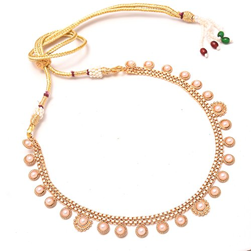 Jewar Mandi Necklace Set Pearl Simple Look Gold Plated Lightweight Jewelry For Women & Girls 7852