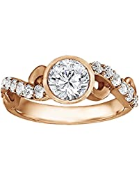 Silvernshine 1.17 Carat White Clear CZ Diamond 10k Rose Gold Plated Wedding Ring