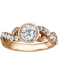 Silvernshine 1.17 Carat White Clear CZ Diamond 10k Rose Gold Plated Wedding Ring