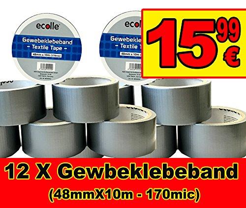 12 X Gewebeklebeband 48mm X 10m 170micron