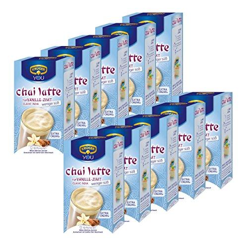 Krüger Chai Latte Classic India moins sucré, vanille et de cannelle, boisson légère à base de thé au lait, Lot de 10, 10 x 10 sachets