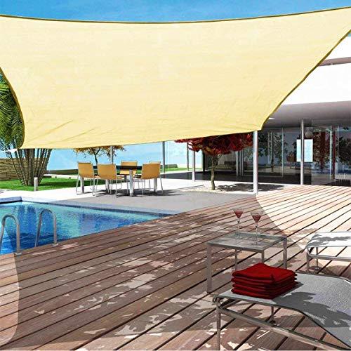 QHYXT Rectangle Shade Sails Früher Wasserdicht UV-Sonnenschutz Screen Shelter Markise Pavillon Vordach Pergola Patio Garten Draußen drinnen,Sand-3x6m