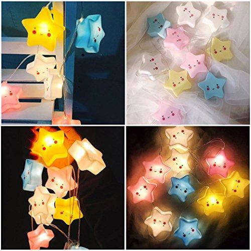 BZLine Dekoration Licht, Nette 10 stücke Sterne LED String Lichterkette Lampe Nachtlicht Party - Gesichts-licht-schalter
