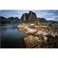 Posterlounge Acrylglasbild 60 x 40 cm: Traditionelle norwegische Fischerhütten Rorbuer, auf der Insel Hamnoy, Lofoten von Markus Ulrich - Wandbild, Acryl Glasbild, Druck auf Acryl Glas Bild