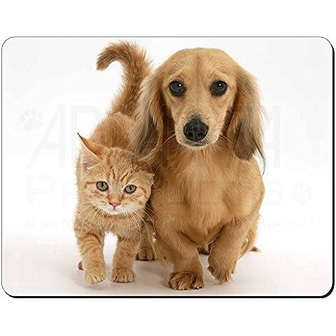 Dachshund Perro y gatito Estera del ratón del ordenador regalo de Navidad de la