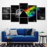 ZEMER Leinwanddrucke Pink Floyd Rock Musik Malerei 5 Stück Wohnzimmer Wohnkultur Leinwand Kunst Wall Poster,A,25X38x2+25X50x2+25X63x1