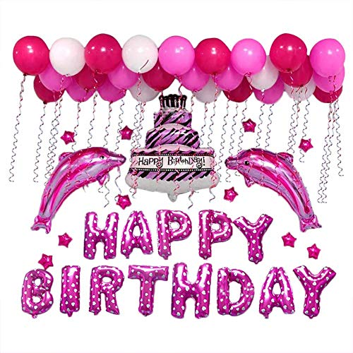 lon Geburtstagsdeko Geburtstag Dekoration Set Deko Zubehör Happy Birthday, Kindergeburtstag Deko, Geburtstagsparty Dekoration Party Aluminiumfolie Delphin Luftballon (Rot) ()