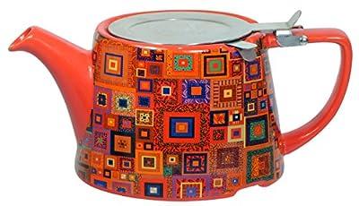 London Pottery Company Kaffe Fassett Oval-filter en céramique Infuseur Théière, 800ml (82,8cl)–Bijou carrés