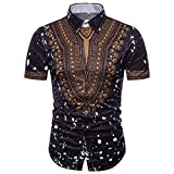 GreatestPAK Polo Hemd Herren Sommer Casual African Print Top Pullover T-Shirts Kurzarm Bluse