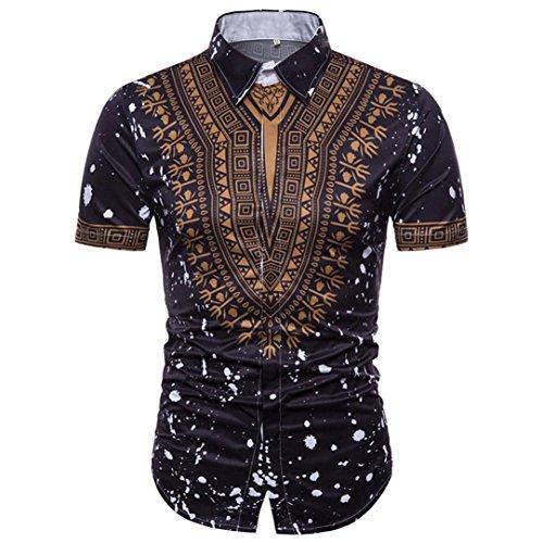GreatestPAK Polo Hemd Herren Sommer Casual African Print Top Pullover T-Shirts Kurzarm Bluse,Schwarz,XXXL