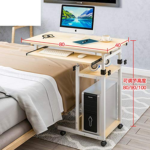 JiaQi Höhenverstellbar Medizinische Tabelle Overbed,Mobile Laptop-Tisch Mit Rollen,Krankenhaus Computer Schreibtisch Für Das Studium Lesen Frühstückstasse Tabelle-v 80x40cm(31x16inch) -