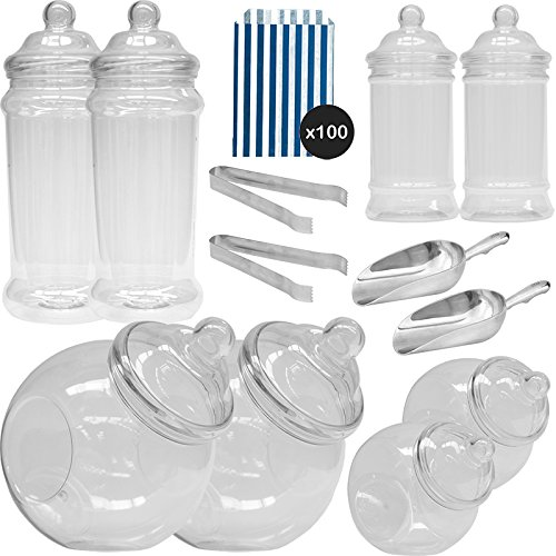 he Pick & Mix Polka Dot Süßigkeiten Buffet Kit - 8 Plastikbehälter & 100 Dunkelblau Beutel ()