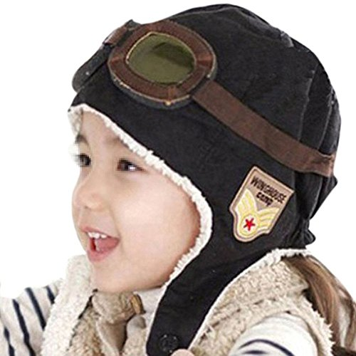 Unisex Baby Kinder Winter Warm Pilot Aviator Fleece Hut Mütze mit Ohrenschützer (Schwarz) (Fleece-pilot Jungen)