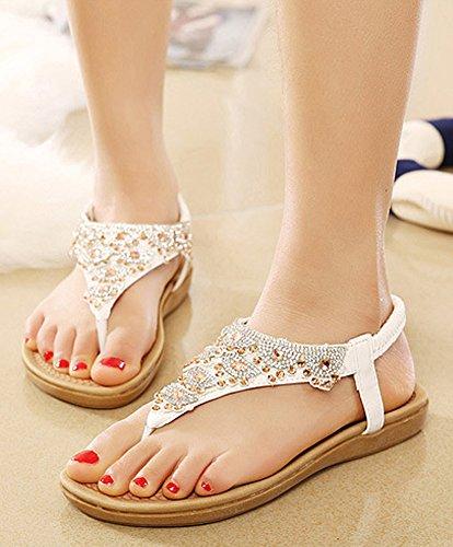 Minetom Damen Sandalen Sommer Flip Flops Böhmische Stil Flache Schuhe Strass T-Strap Sandals Flats Thong Strand Hausschuhe Weiß EU 37 YBtZul