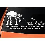 "Level 33 Ltd - Vinilo adhesivo para coche, ventana, pared, portátil,inspirado en Star Wars, con mensaje en inglés ""The Empire Doesnt Care About Your Stick Figure Family"""