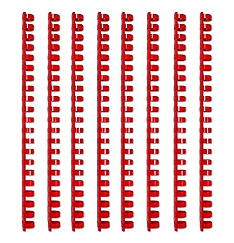 Bindung Plastik, Spiralbinderücken, 12 mm, rund, rot, Set mit 100 Stück
