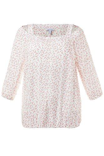 GINA_LAURA Damen | Shirt-Bluse | Cut outs & Träger | U-Boot-Ausschnitt | 3/4-Ärmel | bis Größe 3XL | 711108 Dunkelrosa